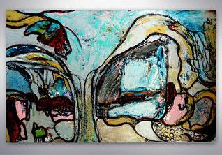 Modernes Bild, Gemälde, Türkis, Baum, Figurativ, Gold, Silber, XXL, Original, Unikat, XXL, großformatig, abstrakte Kunst Malerei, Galerie,