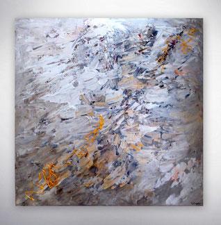 Bild, Gemälde, Silber, Gold, Weiß, Bunt, Original, Unikat,