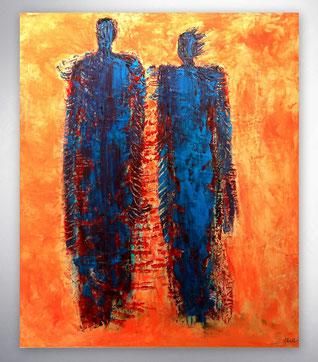 Bild, Gemälde, Silber, Gold, Rot, Blau, Gelb,  Weiß, Bunt, Original, Unikat, Gesichter, Menschen, figurativ, Figuren, Portrait,