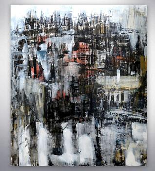 Bild, Gemälde, Silber, Gold, Weiß, figurativ, Stadt, Skyline, Bunt, XXL, großformatig, modern, gespachtelt,