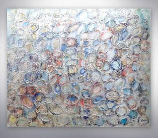 Bild, Gemälde, Silber, Gold, Rot, Weiß, Bunt, Original, Unikat, figurativ, Menschen, City, Skyline, Stadt,