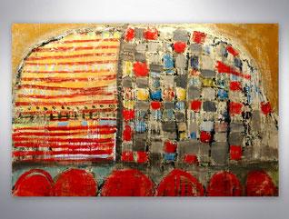 Bild, Gemälde, Rot, Gold, Silber, XXL, Original, Unikat,