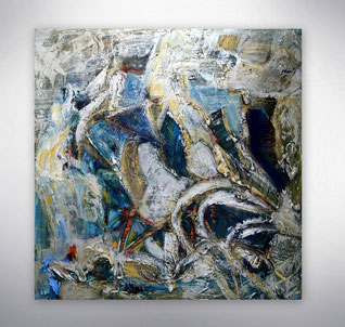 Bild, Gemälde, Silber, Gold,  Blau, Rot, Türkis, Weiß, Bunt, Original, Unikat, gespachtelt, Strukturen,