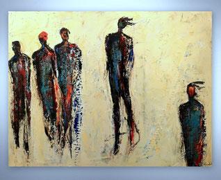 Bild, Gemälde, Silber, Gold, Rot, Weiß, Bunt, Original, Unikat, figurativ, Menschen, Figuren, Personen, gespachtelt, Strukturen,