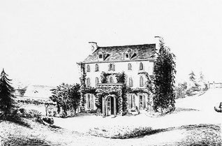 Gravure du XIXe réalisée à partir d'une aquarelle conservée au Musée George Sand de La Châtre, représentant la façade sud du Coudray.