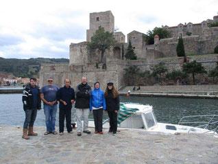 L'équipe au complet à Collioure. De gauche à droite : Rodrigo Pacheco-Ruiz, Franck Brechon, Jean-Charles Ribes, Oscar Encuentra, Aurélie Albaret et Crystal Safadi.