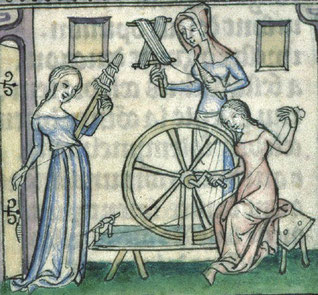 La quenouille et le rouet sont réservés aux femmes - Enluminure, 1385 (BM Lyon)