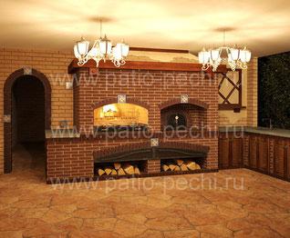 Фото печной барбекю комплекс с мангалом, вертелом, каминной вставкой, русской печи