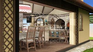 Многофункционльный барбекю комплекс в беседке с панорамными окнами в летнюю кухню входит: мангал-барбекю, поворотный механизм для котелка, каминная вставка - генератор углей, вертел с эл. приводом, пл