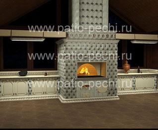 Проект барбекю печного комплекса построенный в два уровня - на патио и всесезонной террасе, коптильня горячего копчения и подтопком холодного копчения с дымоходом ожлаждения расположена под навесом, д