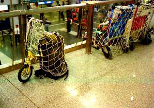 Rucksack und Mini-Bike startklar