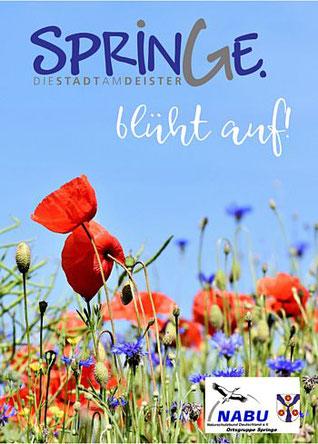 Cover der Saatguttüte mit Mohn und Kornblumen vor blauem Himmel