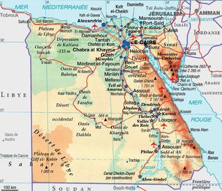 Carte de l'Égypte