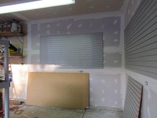 Drywalled bare studs in garage