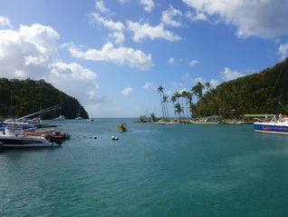 Marigot Bay, Blick von der Lagune Richtung Ausgang
