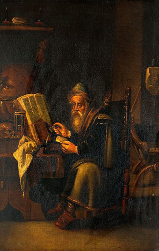 "David Teniers the Younger, ""A philosopher reading"""