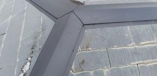 寄棟部分の板金、三角形が三つ集まっている