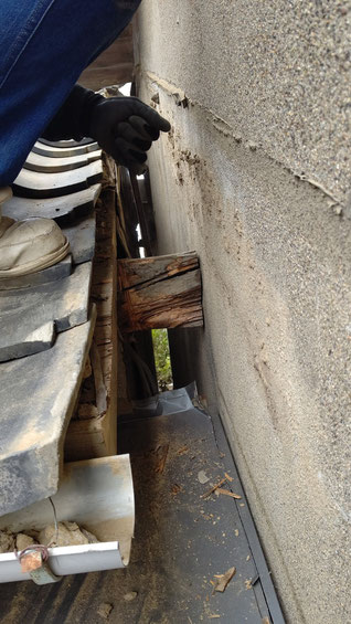既設瓦屋根のケラバ部分に木(梁)がでている