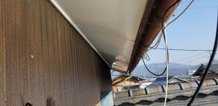 板金で加工した軒天をはった天井