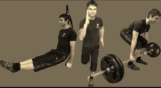 Core suspension pike core exercise, power sprinting technique and strength deadlift with barbell