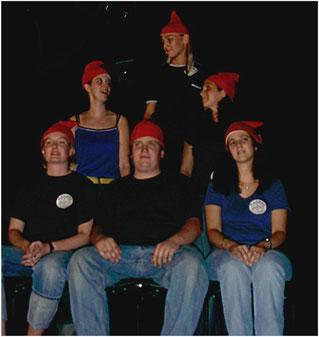 """Hinterm 7. Berg"" 2.Programm:  ""Satirische Verse"" (1994/95) | (vlonru) Steffi Daedelow, Julia Stotz, Isabel Esch, Nina Wilms, Sebastian Rüdiger und Montserat Coll"