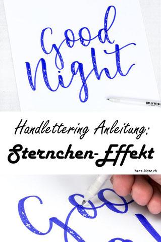 Handlettering Anleitung: Wie du ganz einfach dein Lettering mit dem Sternchen-Effekt aufwerten und verzieren kannst. Eine einfache Möglichkeit die deinem Lettering den letzten Schliff gibt.