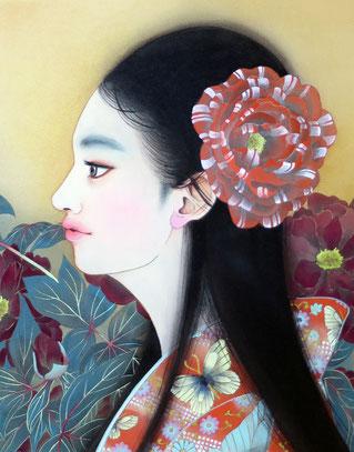 宝居智子 「牡丹の乙女」 F3  絹・岩絵具・金泥