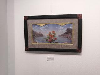 入り江で待つ花 テンペラ、油彩、パネル、布、箔 450×710mm 550,000円(税込)