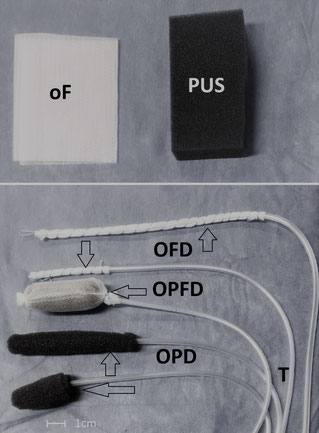 Double-layered open-pore film (oF) and open-pore polyurethanefoam (PUS). Variants of open-pore drainagetypes for ENPT in upper GI.