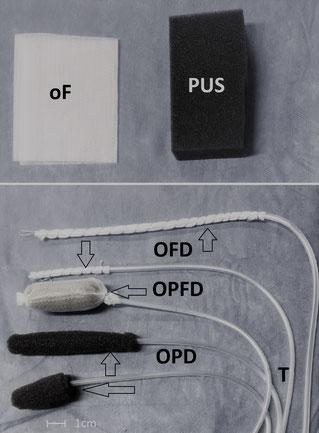 Doppellagige offenporige Folie (oF) und offenporiger Polyurethanschaum (PUS). Unterschiedliche offenporige Drainagetypen, die für die EUT am OGI genutzt werden.