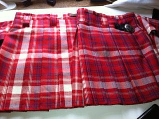 Kilt in Swiss Red, Box pleated