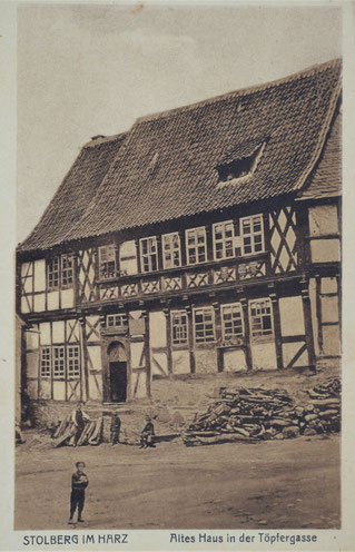 Stolberg Harz Töpfergasse altes Haus Töpferei