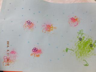 蛙と紫陽花