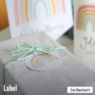 Schönes Deko-Label mit Regenbogen für Geburtstage, Taufe, Kommunion oder anderen Festen. Zum selber ausdrucken.
