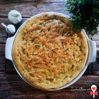 Knoblauch Focaccia Rezept, Knoblauchbrot, Grillrezepte