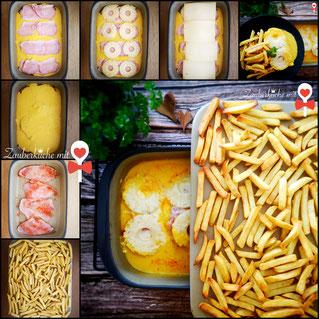 Hawaii Schnitzel mit Pommes im Stoneware Grundset von Pampered Chef®, Rezept Zauberküche mit Herz