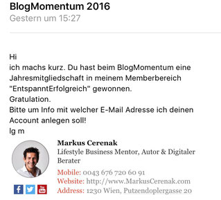 freaky finance, Markus Cerenak, Blogmomentum, E-Mail, Gewinnbenachrichtigung