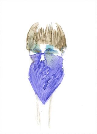 Mädchen mit einem Tuch, 2011, Aquarell und Buntstift auf Papier, 21 x 29,7 cm