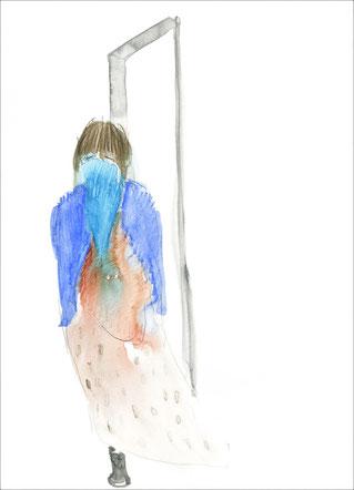 Mädchen vor der Tür, allein mit einem Bein, 2011, Aquarell und Buntstift auf Papier, 21 x 29,7 cm