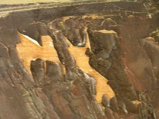 soulèvement de la couche picturale sur panneau de bois