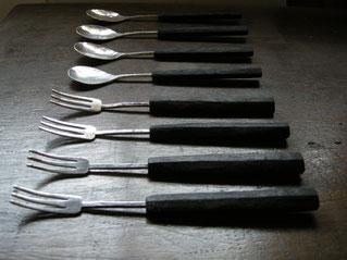 ベビーフォーク・スプーン 16cm(銀、黒檀) ¥5,500〜6,500