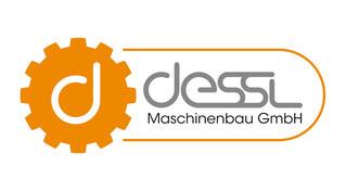 Dessl Maschinenbau GmbH Logo. Oranges Zahnrad mit rundem weißen d im Zentrum
