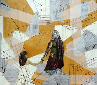 Franziska Hofmann, Damaskus, 2016, Acryl, Bleistift, Papier, Transparentpapier auf Leinwand, 140 x 160 cm
