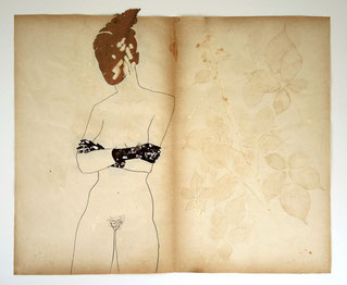 Botanischer Akt 2018, Blätter, Graphit, Papierschnitt, Herbarienpapier, 45 x 55 cm
