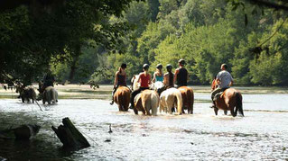 Horse riding in the Dordogne river