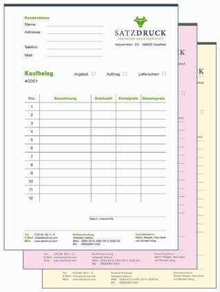Durchschreibsätze für Lieferscheine, Kaufbelege oder Quittungen - gedruckt von SATZDRUCK