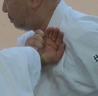 ④左半身で左胸を受けの手背に密着し掌が受け自身の胸に向かう様取りの(ここでは左)胸を受けの異名側の胸に着ける。