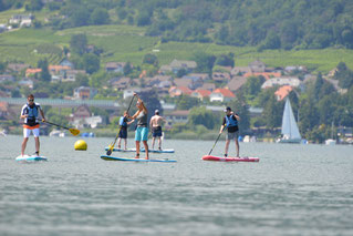 Stand Up Paddling Kurs - Gruppe beim Einwassern - SUPSTATION.ch