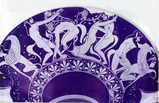 (copa Nikosthenes en que se puede ver la gran potencia sexual que representa el sátiro)