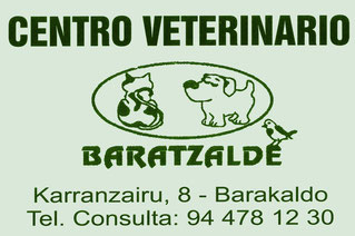 Centro Veterinario Baratzalde. Calle Karranzairu 8, Bajo. Barakaldo 48901 (Bizkaia) 944 781 230